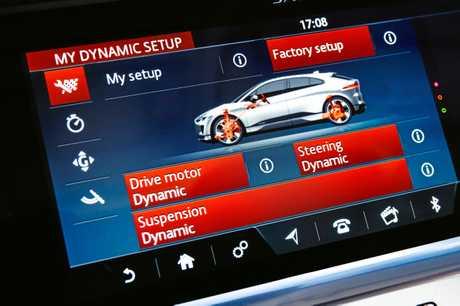 Jaguar I-PACE, interior details and information screens.
