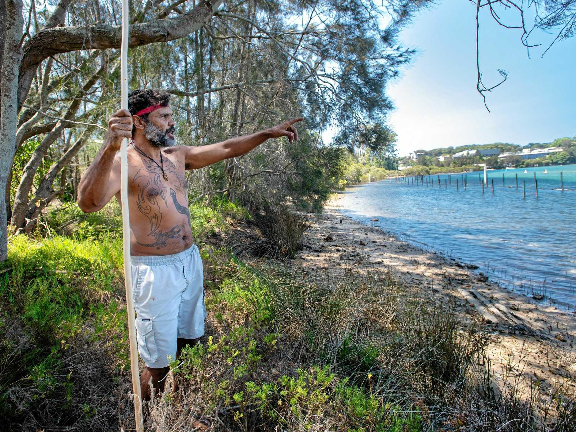 MAN OF THE LAND: Buagin looks out over the Nambucca River at the site of the Gumbaynggirr Tent Embassy.