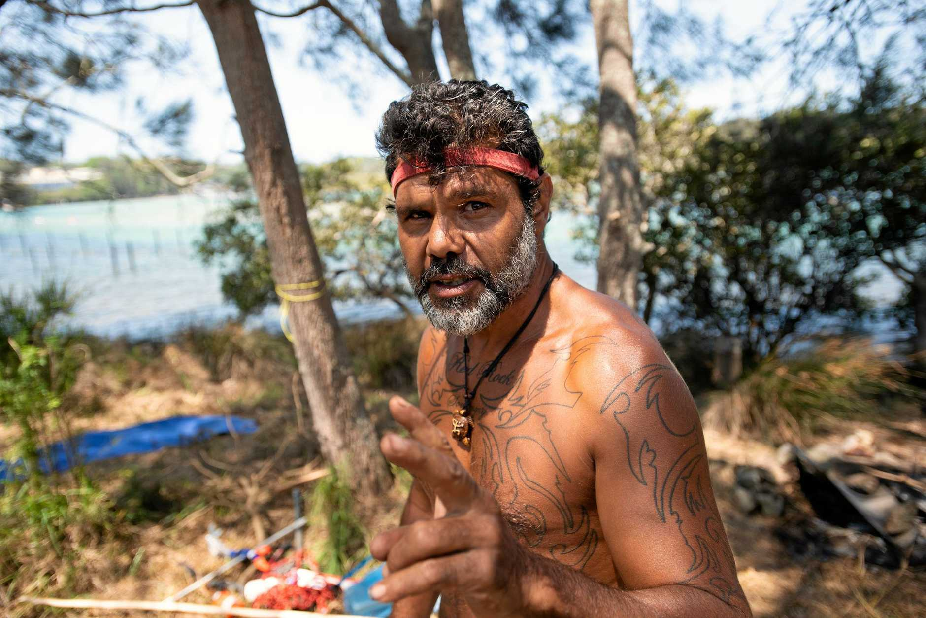 Buagin at his tent embassy on the  Nambucca river. 28 JAN 2019