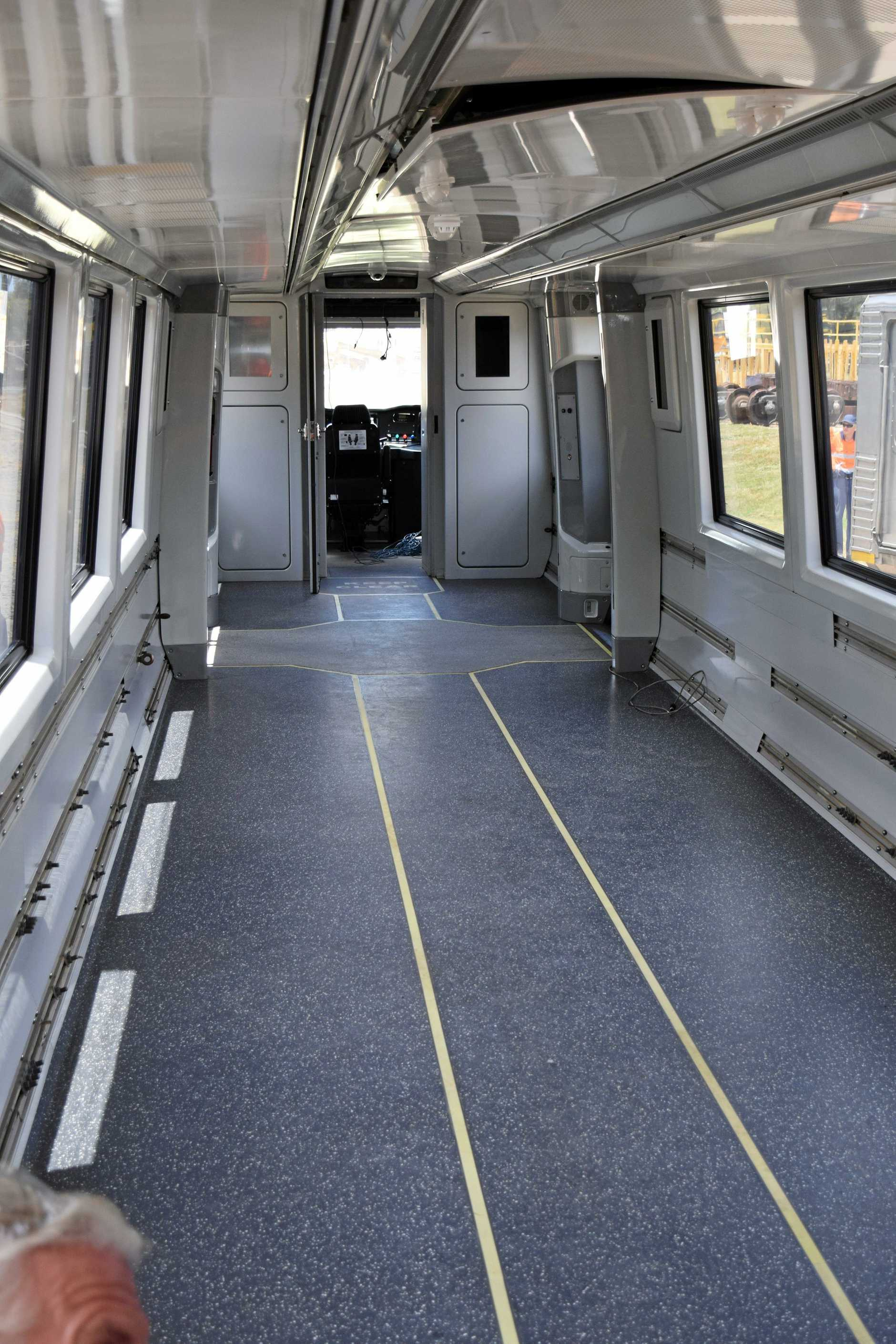 The inside of the NGR train which will be repaired at Downer EDI.
