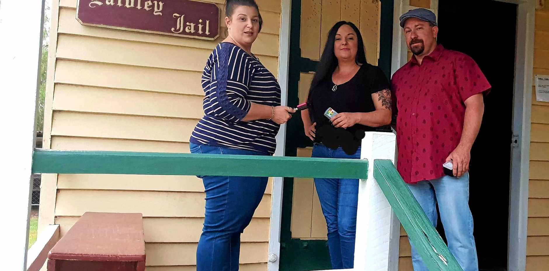 SPOOKY PAST: Miha Samanovic, Tina Mundt and Bruce Mcloughlin get ready for the paranormal night at Laidley Pioneer Village.