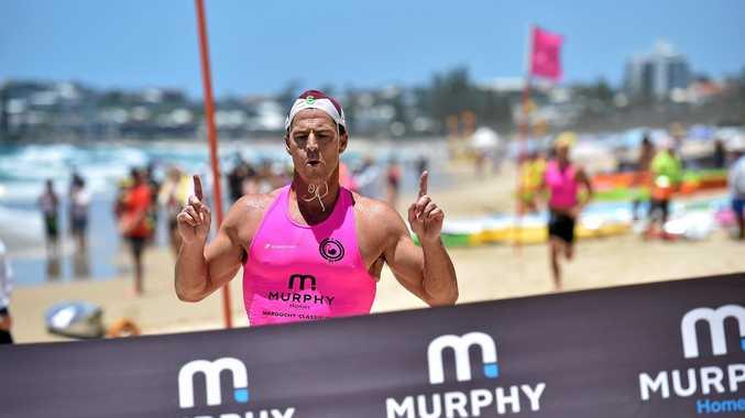 Maroochy Classic Surf Lifesaving Carnival.Shannon Eckstein wins the Ironman.