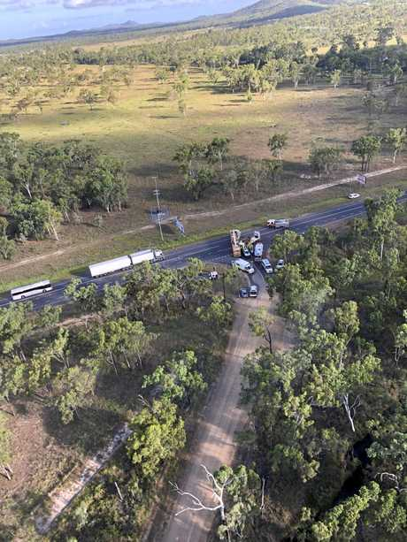 The crash at the Old Byfield Rd from the air as the RACQ Capricorn Helicopter arrived on scene to airlift a 46-year-old man to Rockhampton hospital. He has since been transferred to Brisbane.