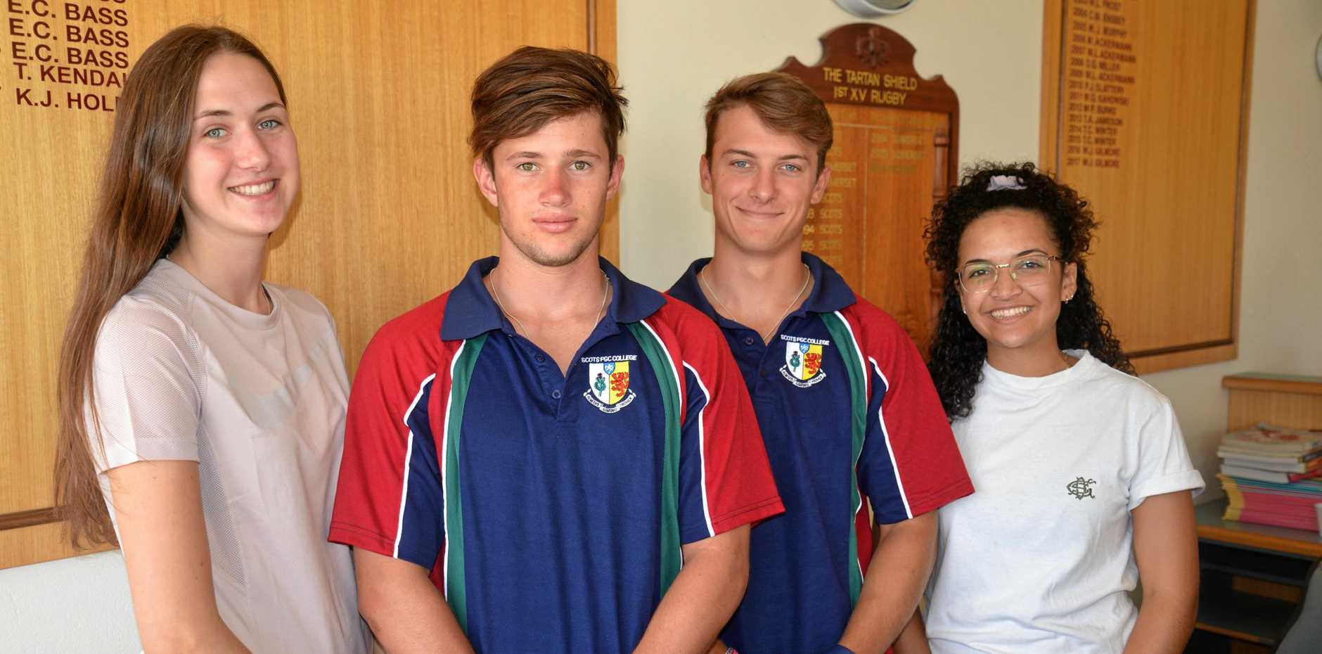 SAFFERS SIGN ON:  Scots PGC South African gap students Scott Stretton and Jeremy Beyleveld, flanked by Sophie Butler and Aly Ferreira, have joined Colts XI in Warwick Cricket. The pair are also keen to play rugby in winter while their female counterparts will join hockey and netball sides this year.