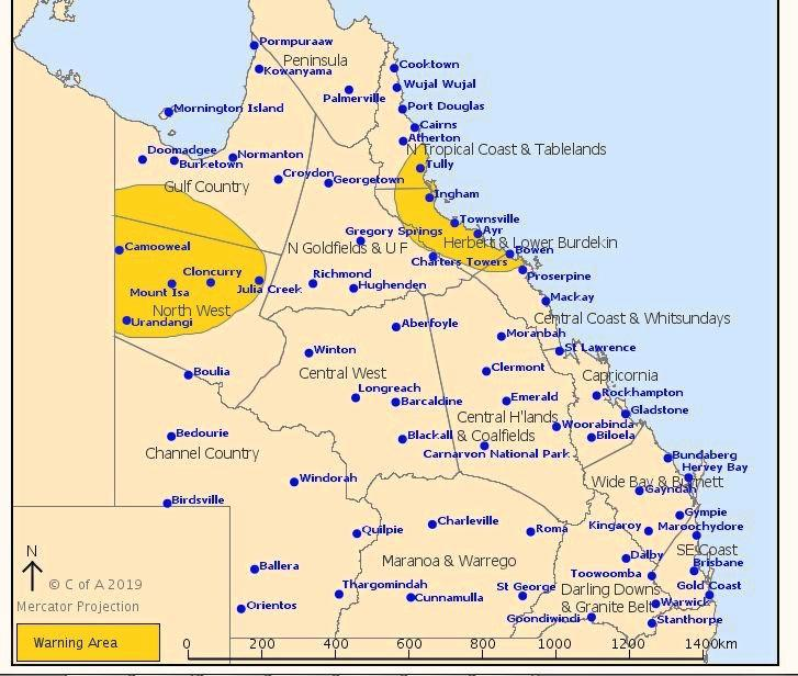 The severe weather warning for heavy rainfall has been changed to include the northern part of the Central Coast and Whitsundays district, featuring Bowen and the surrounding district.