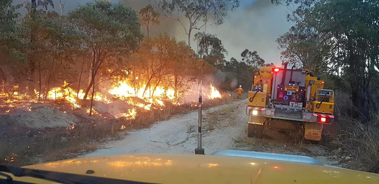 STAY SAFE: A photo of the blaze posted on the Tannum Sands Rural Fire Brigade Facebook page on Thursday.