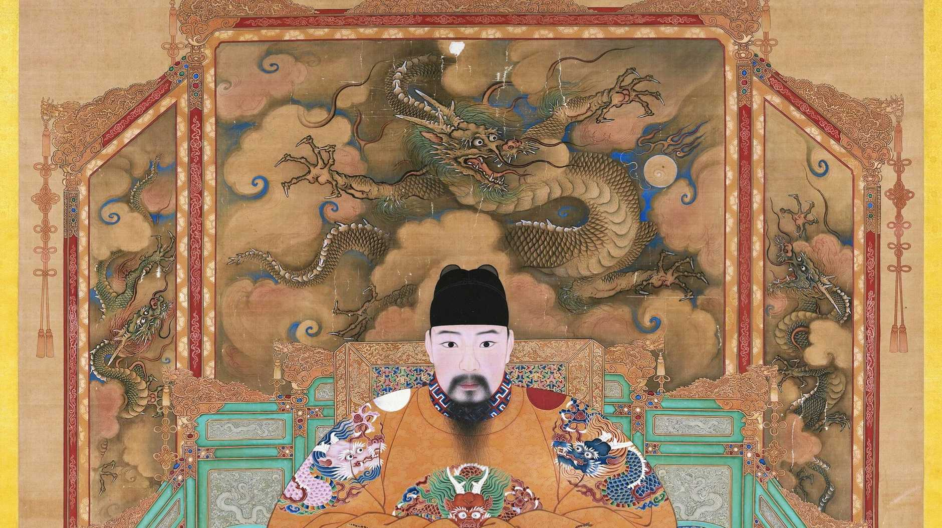 Ming dynasty 13681644'Portrait of the Hongzhi Emperor (reign 14881505) hanging scroll, ink and colours on silk, 209.8 x 154.4 cm.