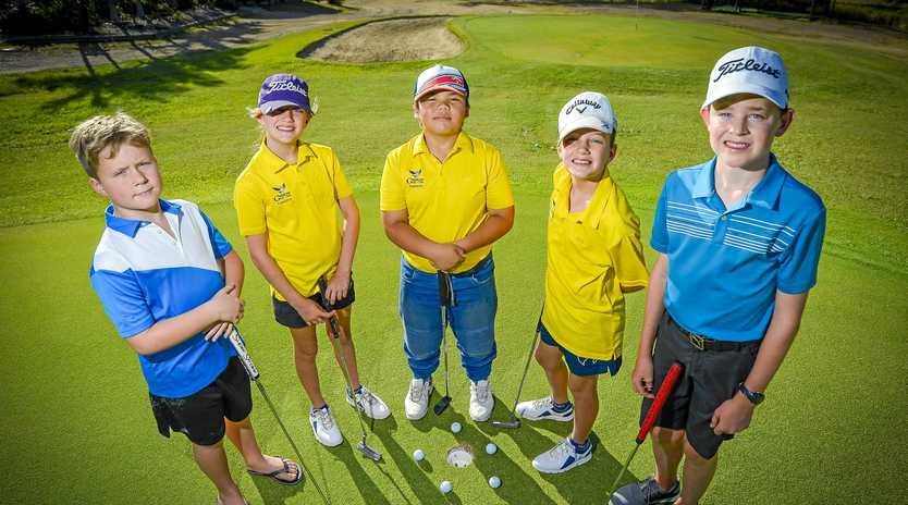 FUTURE STARS: Nicolas Underhill, Finn Robinson, Paul Marsh, Sadie Robinson and Declan Corke are all part of the Gladstone Junior Golf Club set-up.