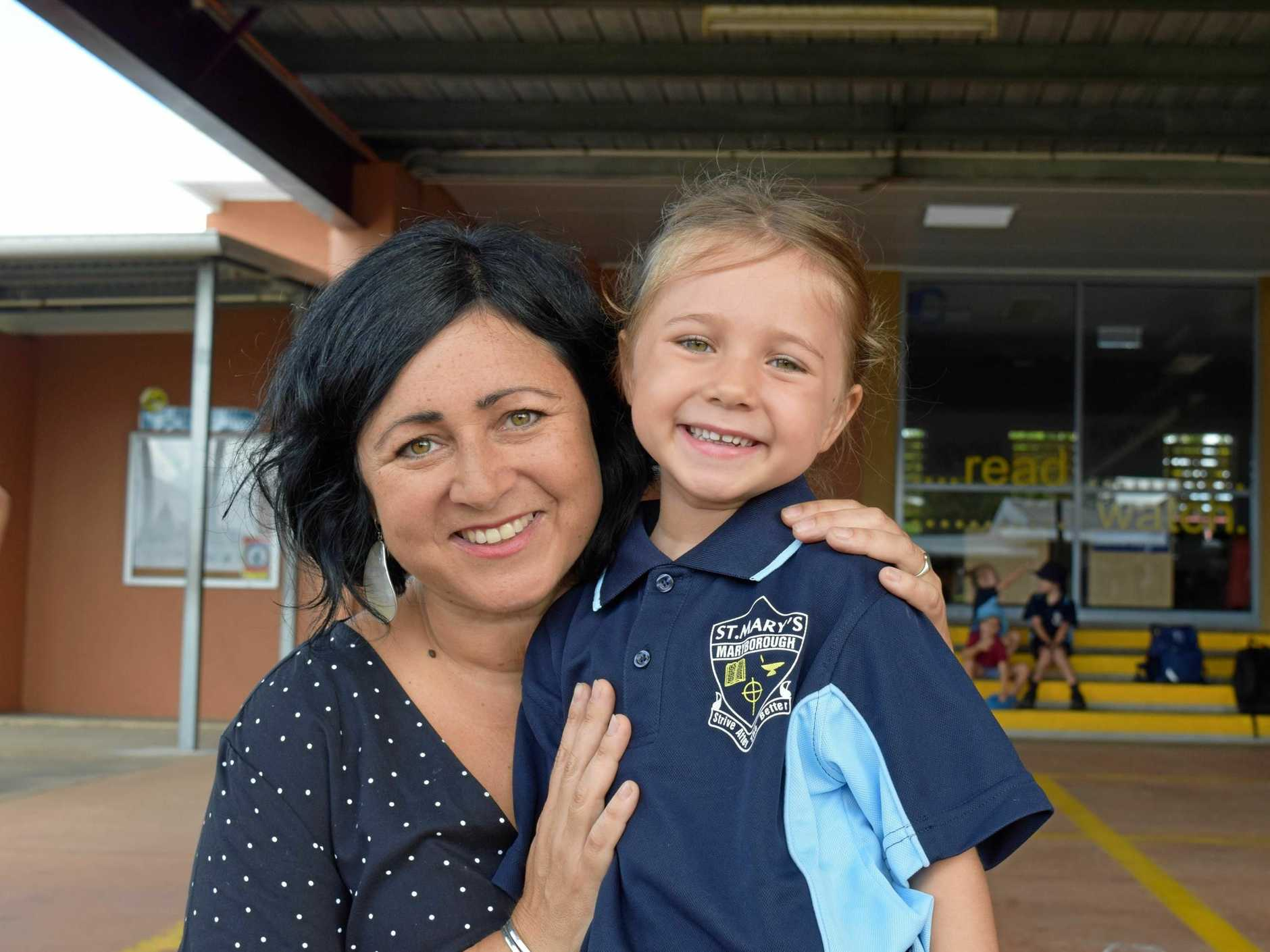 Nicky Canning with daughter Matilda (right) who was super keen to start her Prep at St Mary's Primary School.