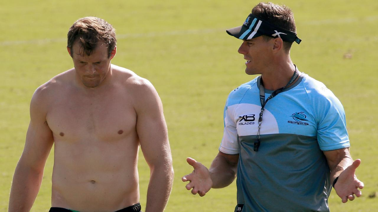 Sharks coach John Morris, pictured with new recruit Josh Morris. Picture: Toby Zerna