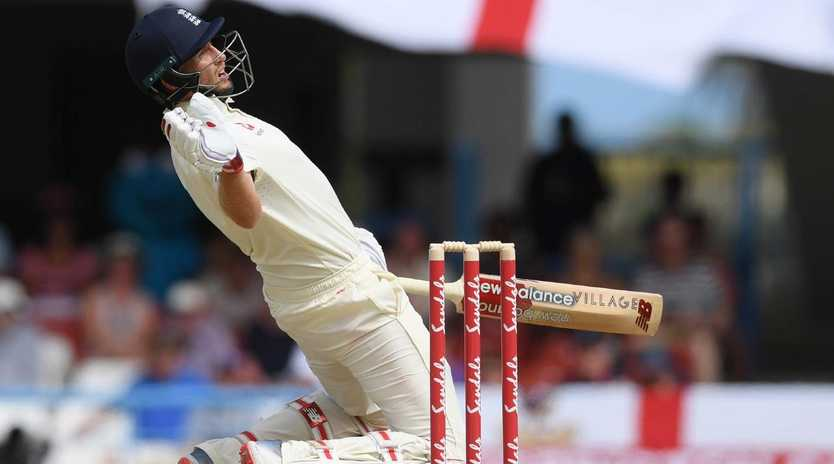 Joe Root avoids a vicious delivery.
