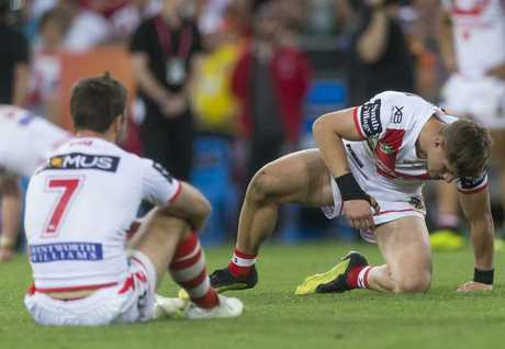 Zac Lomax (right) after the Dragons bowed out of the finals.