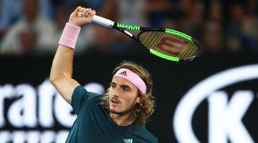 Stefanos Tsitsipas in action against Rafael Nadal at the Australian Open. Picture: Julian Finney/Getty Images