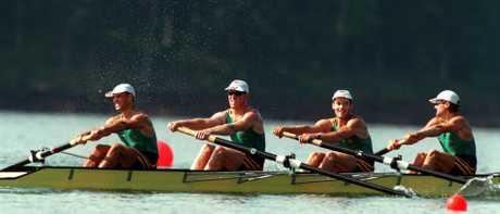 Haimish Karrasch, Gary Lynagh, David Belcher and Simon Burgess in action at the 1996 Atlanta Olympics.