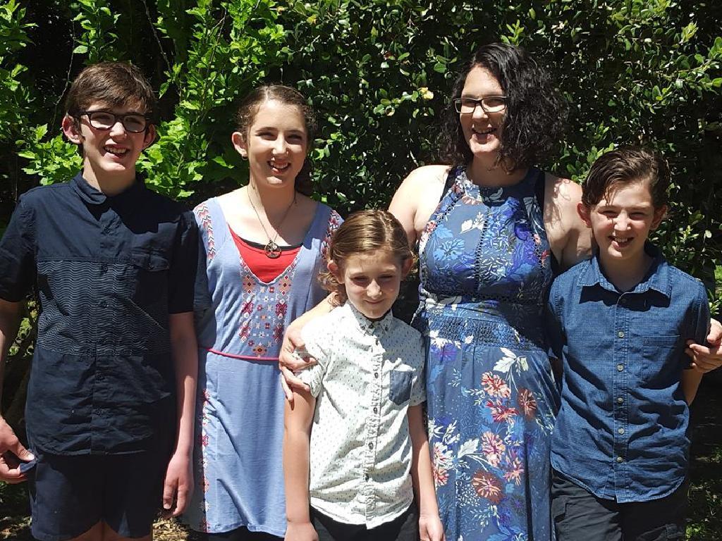 Katrina Miles with her children Rylan, Taye, Kaydn and Ayre.