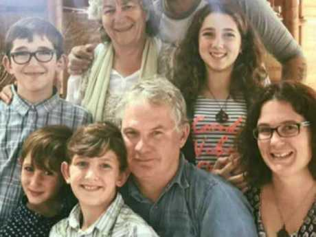 Peter Miles with his wife Cynda, their daughter Katrina and her four children. Picture: Nine