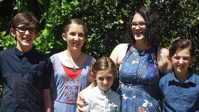 Katrina Miles with her children Rylan, Taye, Kayden and Ayre.