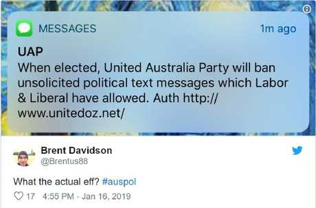 Clive Palmer's curious unsolicited text message about unsolicited text messages.
