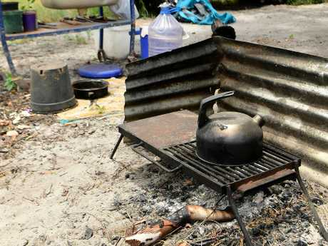 Darrell O'Keefe and Carole Farrell's camp oven which is beside their lean-to in Minyerri. Picture: Justin Kennedy