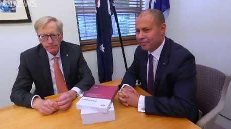 'Nope': Commissioner Kenneth Hayne QC with Treasurer Josh Frydenberg. Picture: ABC