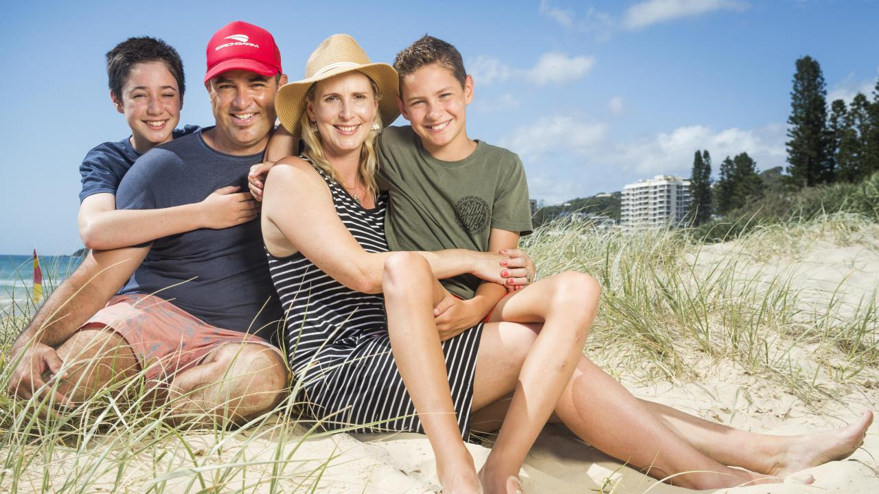 Kathryn and Liam Anderson, of Ferny Grove, with sons Kyha, 12, and Luca, 10, have benefited from the parenting classes to help with transitions between home and school life. Picture: Lachie Millard