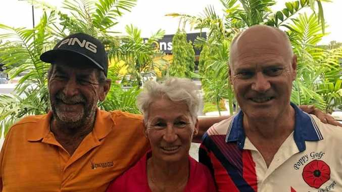 WINNERS ARE GRINNERS: Mark McDougall (B-grade), Tiina Randmae (Ladies) and Geoff Harrison (A-grade) enjoyed success at Whitsunday Golf on Sunday.