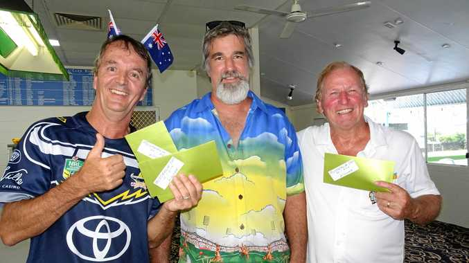 CELEBRATING SUCCESS: Peter Barrett, Paul Durnsford and Merv Stewart took out the prize honours at Airlie Beach Bowls Club.
