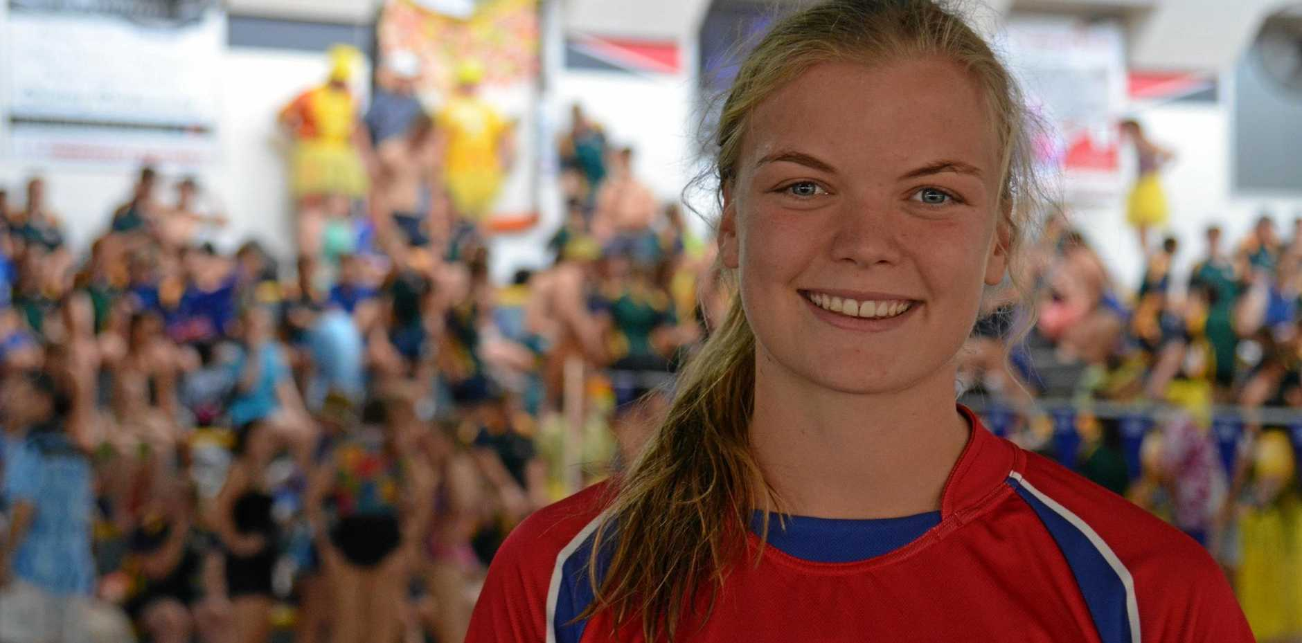 16-year-old Caitlin Skaines broke five records at the Assumption College swimming carnival on February 1, 2019.