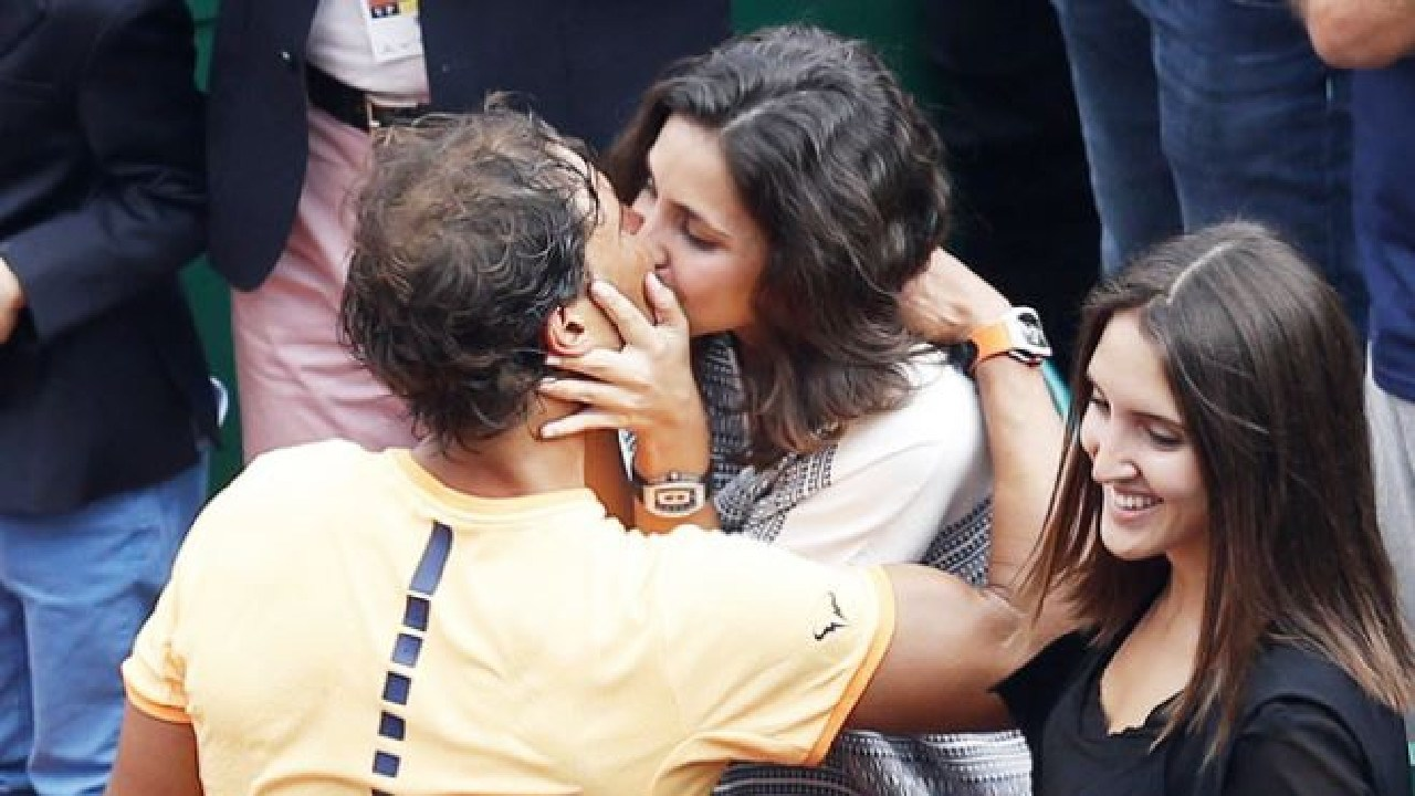 Rafael Nadal and fiancee Maria Perello. Picture: Getty Images