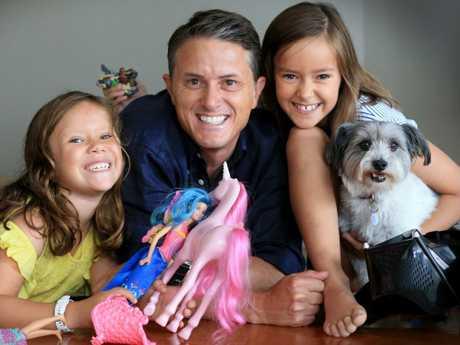 Seven News anchor Max Futcher with Stella, 7, Ava, 9, and pet. Picture: Jamie Hanson
