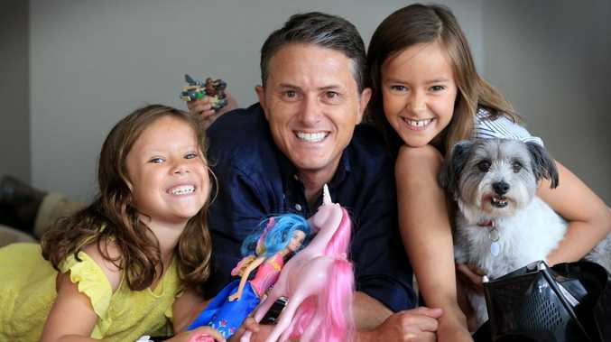 Seven News anchor Max Futcher with Stella, 7, Ava, 9, and pet. Picture: Jamie Hanson