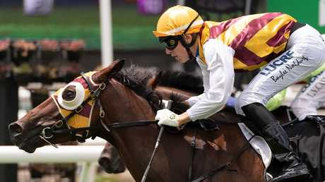 Get Stuck charged home to win at Eagle Farm. Picture: AAP