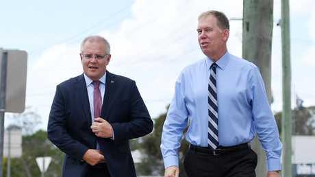 Australian Prime Minister Scott Morrison (left) and the Member for Forde Bert van Manen. Forde is the Coast's sole marginal electorate. (AAP Image/Dan Peled)