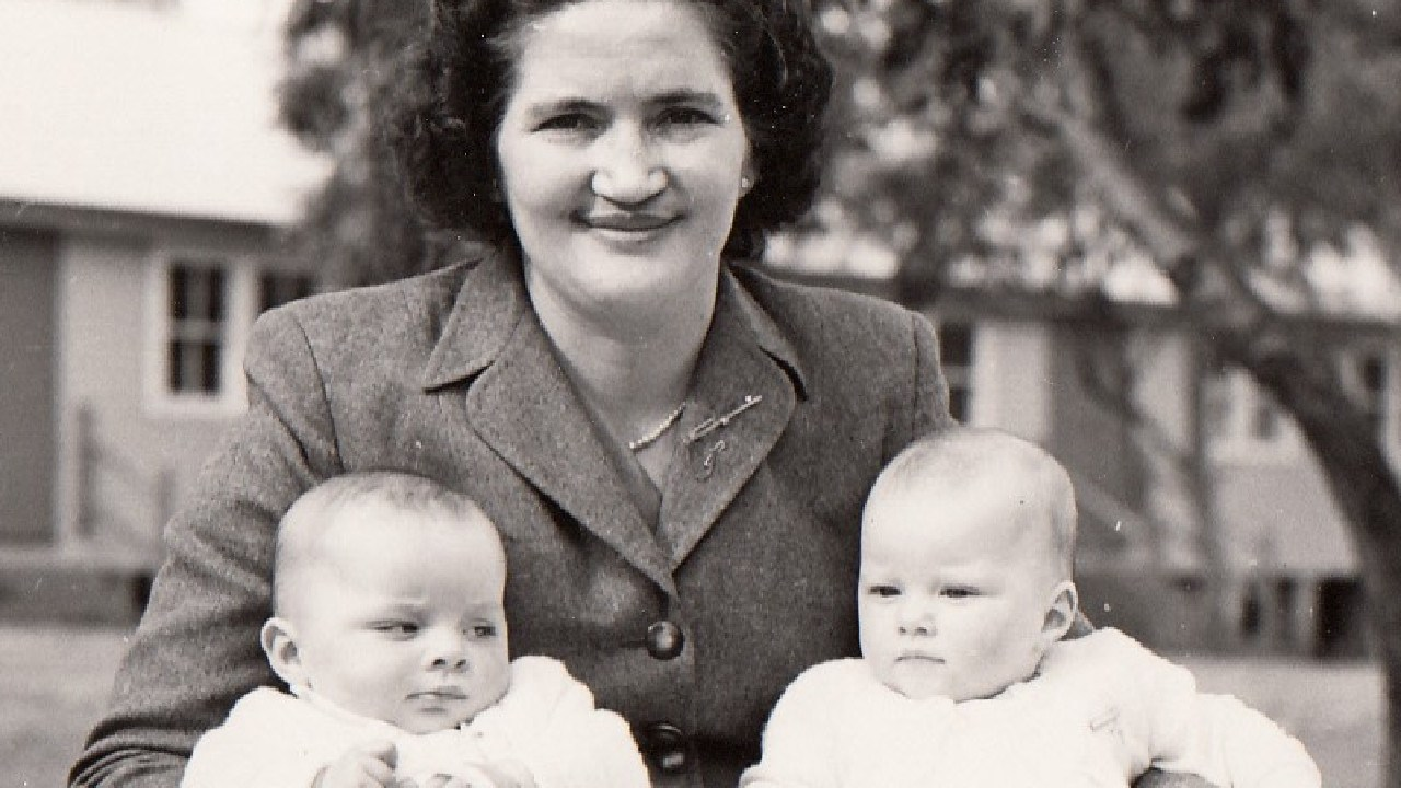 Mum with Michael (left) and me (right) after our baptism. Revesby, September 1956. Picture: Courtesy of the Aulsebrook and Harrod family archives