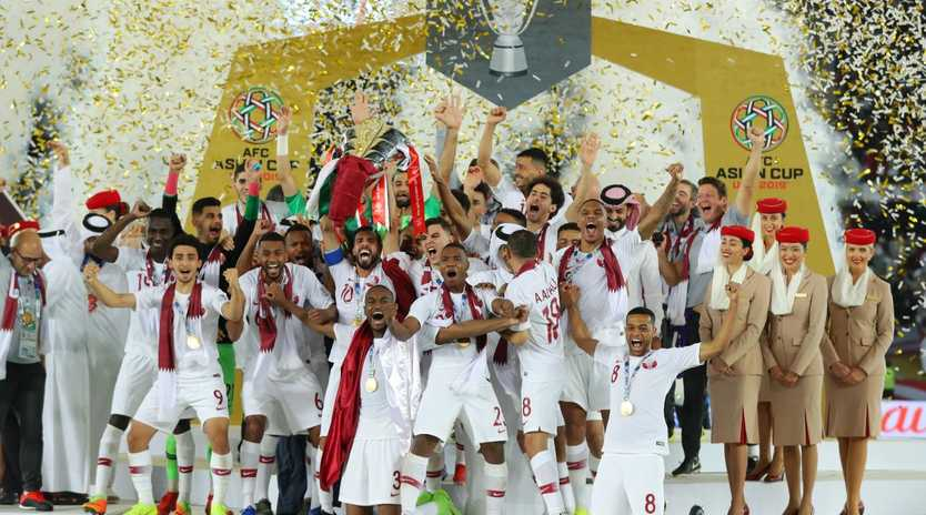 Qatar players lifts the AFC Asian Cup trophy following their victory in the final over Japan at Zayed Sports City Stadium,  Abu Dhabi. Picture: Francois Nel/Getty Images