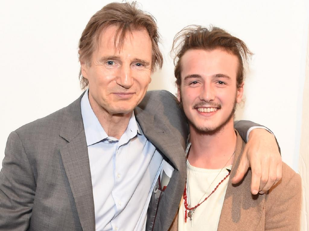 Liam Neeson and his son Micheal, who also appears in Cold Pursuit. Picture: David M. Benett/Getty Images