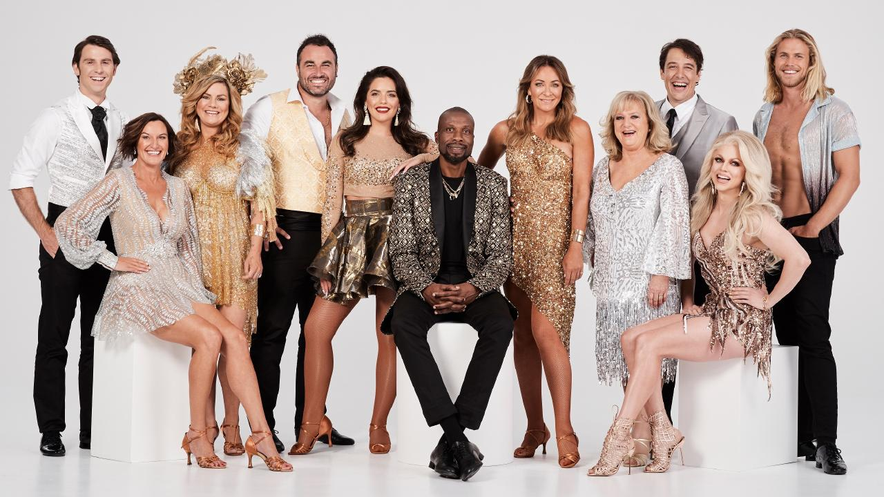 Dancing With The Stars cast Jimmy Rees, Cassandra Thorburn, Constance Hall, Miguel Maestre, Olympia Valance, Curtly Ambrose, Michelle Bridges, Denise Scott, Samuel Johnson, Courtney Act and Jett Kenney. Picture: Supplied/Network 10