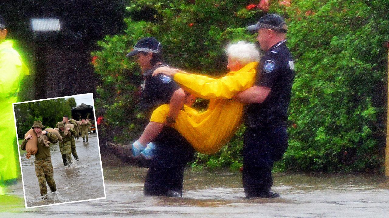 An elderly man was rescued from an inundated home.