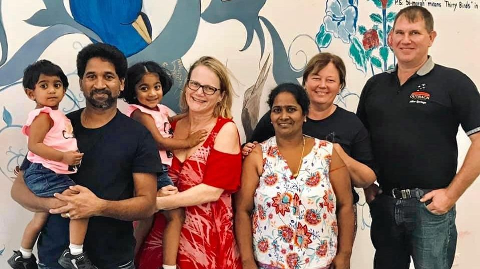 FREEDOM HOPE: Nades and Tharunicaa, 1, Jenny Balaca with Kopika, 3, Priya, and Marie and Jeff Austin pictured recently at the Broadmeadows detention centre in Melbourne.