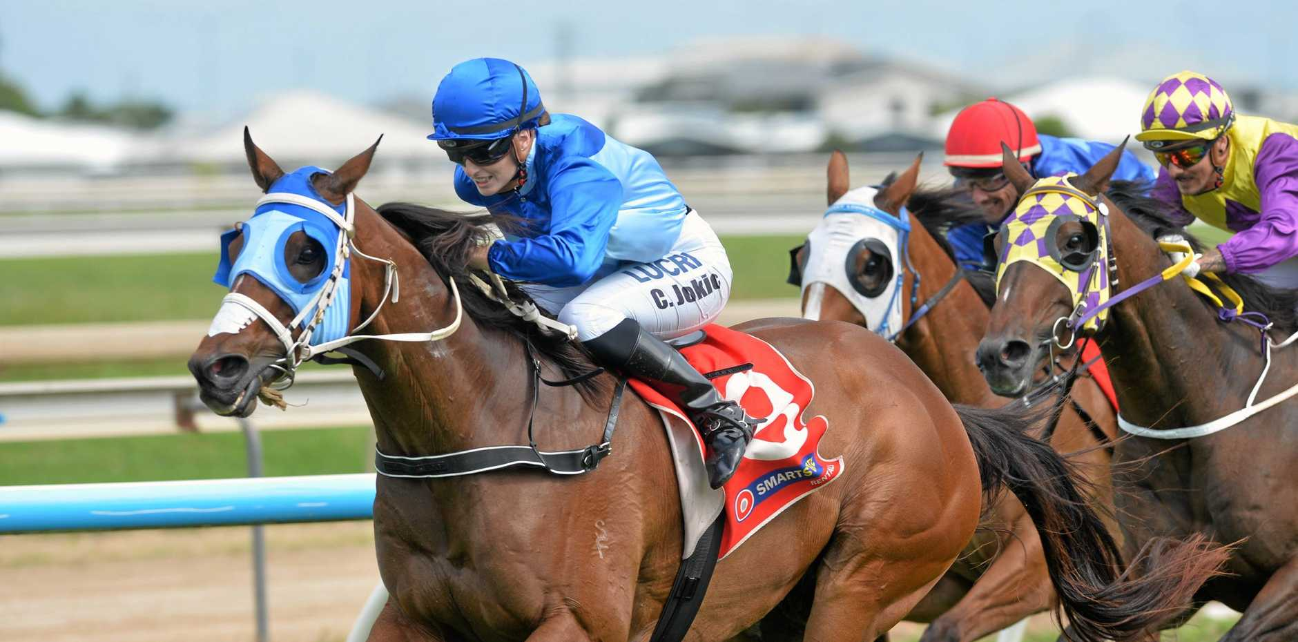 Chelsea Jokic took Winsomemore (8) to his sixth career win in the Race 5 1560m BM65 Handicap event at the Mackay Turf Club Long Lunch Race Meeting.