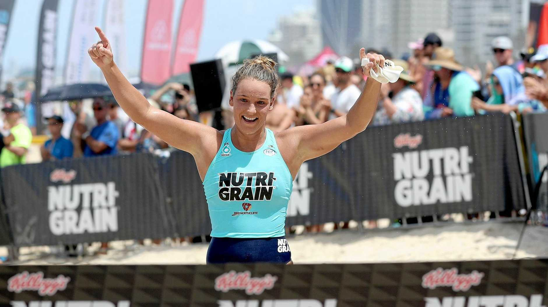 WINNER: Former Kawana nipper and Mooloolaba talent Maddy Dunn won the ironwoman during round six of the Nutri-Grain series at Surfers Paradise Beach