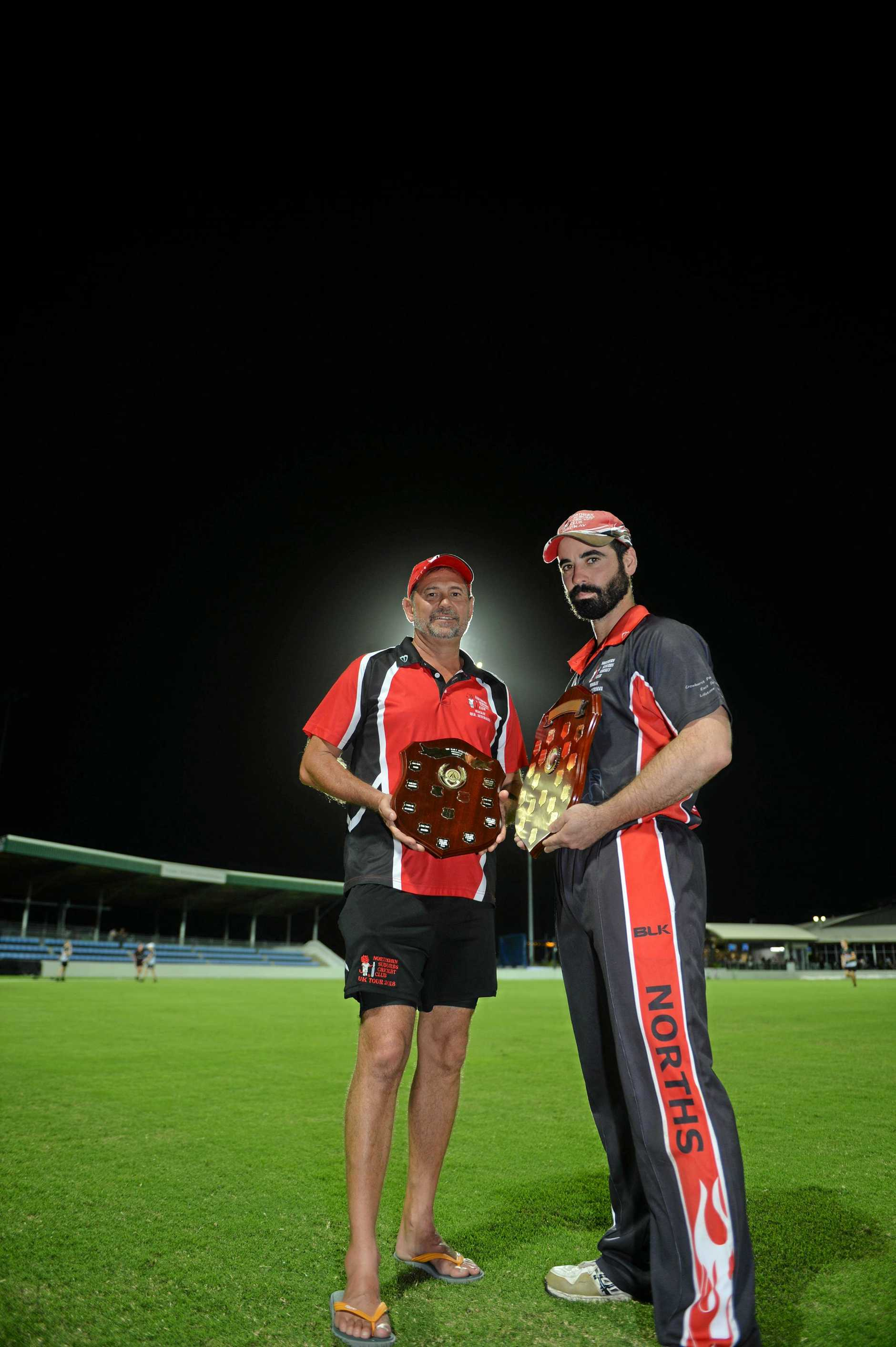 Northern Suburbs' 1st and 2nd grade captains, Peter Shepherd (right) and Troy Newton holding their championship trophies after winning 1st grade and 2nd grade competitions in the T20 Shootout. 02/02/19.