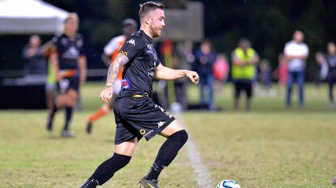 Magpies Crusaders' Liam Shipton on the ball against Brisbane Roar Youth in their NPL Qld round 23 clash at Sologinkin Oval, Mackay on Saturday, August 4.
