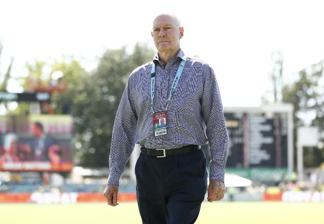 Australian selector Greg Chappell looks on during day three of the Second Test match between Australia and Sri Lanka at Manuka Oval.