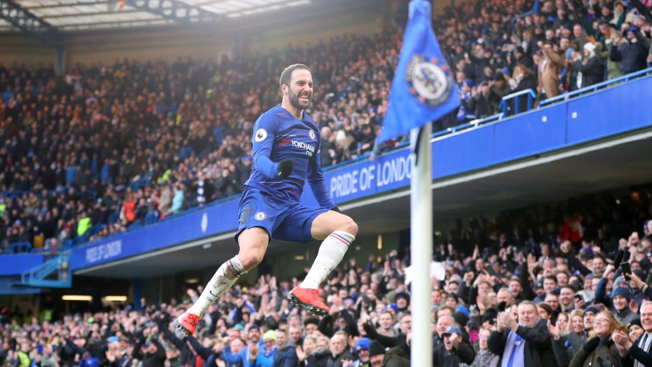 Gonzalo Higuain of Chelsea celebrates after scoring his team's first goal