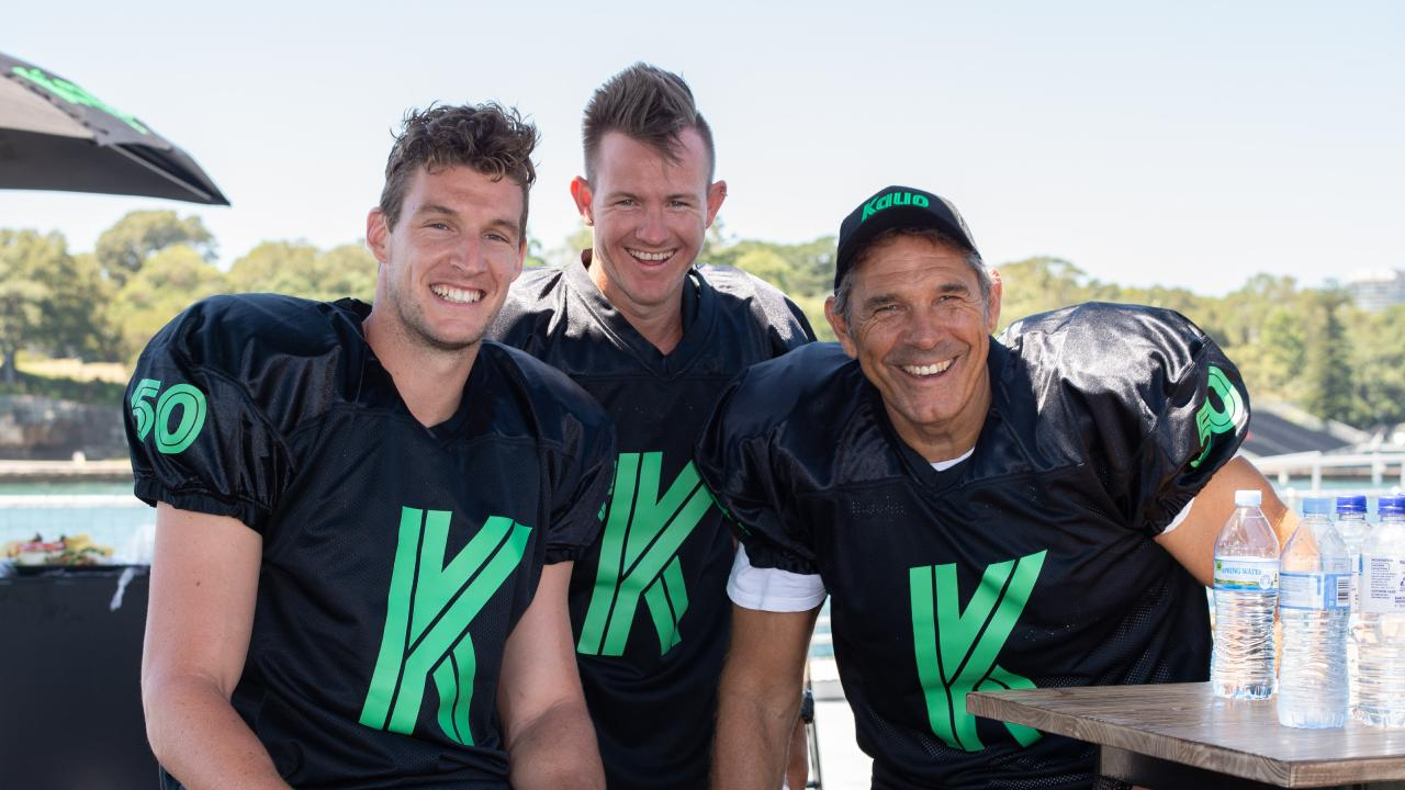 Australian NFL player Michael Dickson (left), Darcy Short (middle) of the Hobart Hurricanes and former NFL player Colin Scotts (right). Picture: Monique Harmer