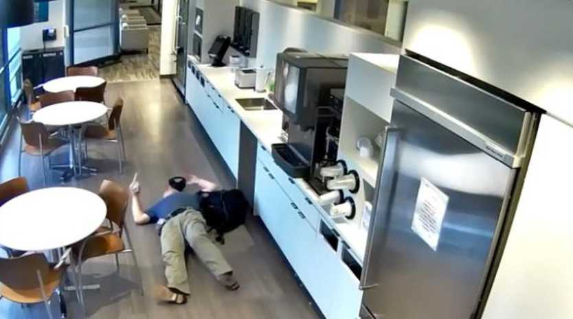Man stages fake fall in insurance claim hoax.