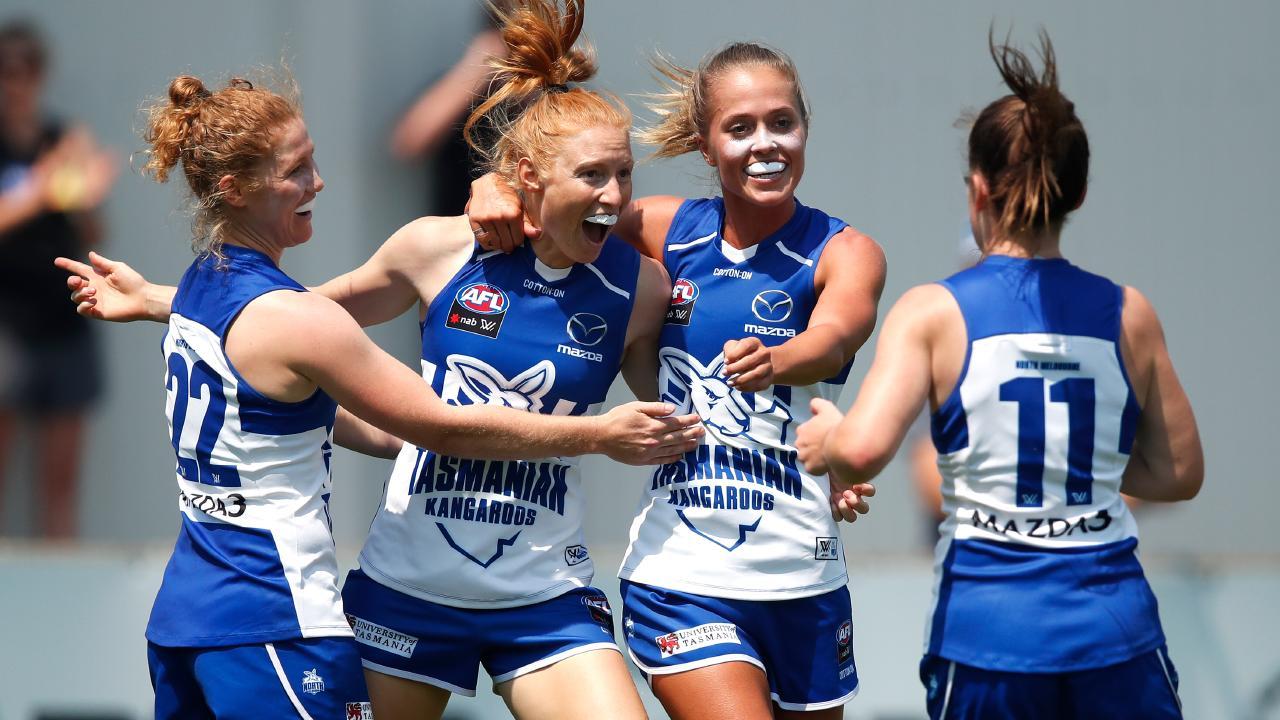 Georgia Nanscawen, Alison Drennan, Kaitlyn Ashmore and Daisy Bateman celebrate a goal.
