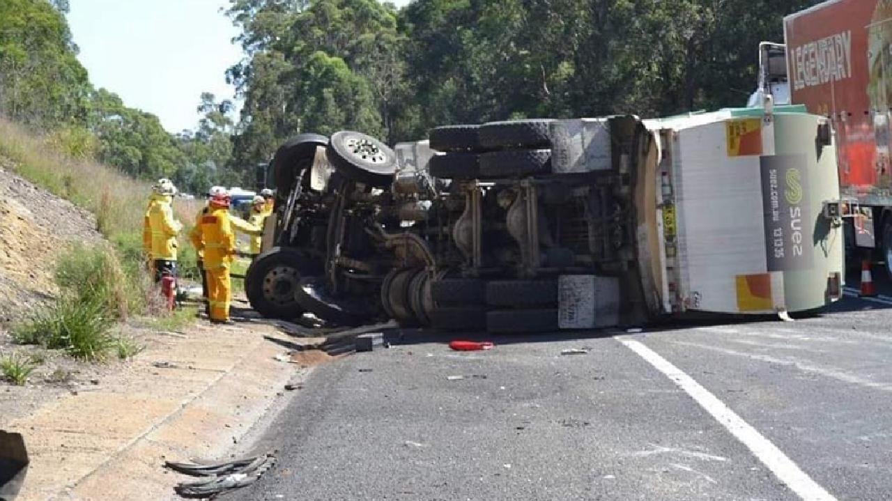 Overloaded front axles caused this truck to overturn at Nowra on January 4, 2019. Picture: Supplied