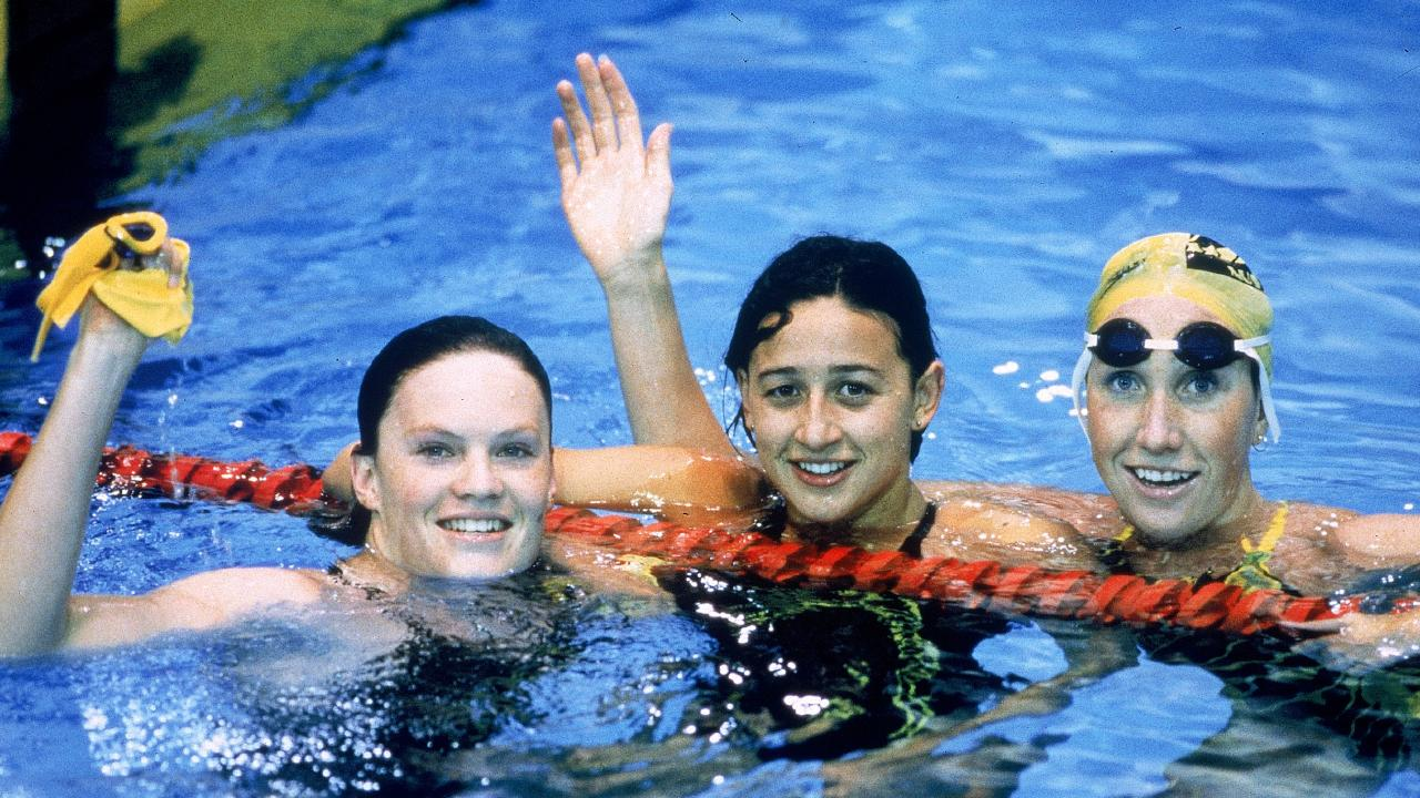 (From left) Julie McDonald wins silver, Hayley Lewis, gold and Janelle Elford, bronze in the  womens 400 Metres Freestyle final during the 1990 Commonwealth Games held in Auckland, Australia. Picture: Photo by Getty Images)